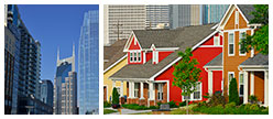collage of downtown buildings, residential houses